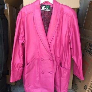 Jackets & Blazers - Pink Soft Italian Leather Coat